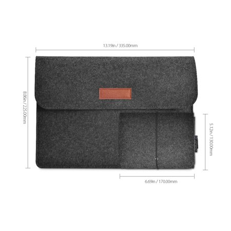dodocool 12 Inch Laptop Felt Sleeve Envelope Cover Ultrabook Carrying Case Notebook Protective Bag with Mouse Pouch Dark