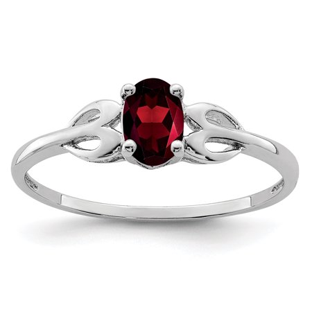 925 Sterling Silver Red Garnet Band Ring Size 9.00 Set Birthstone January Gemstone Gifts For Women For Her