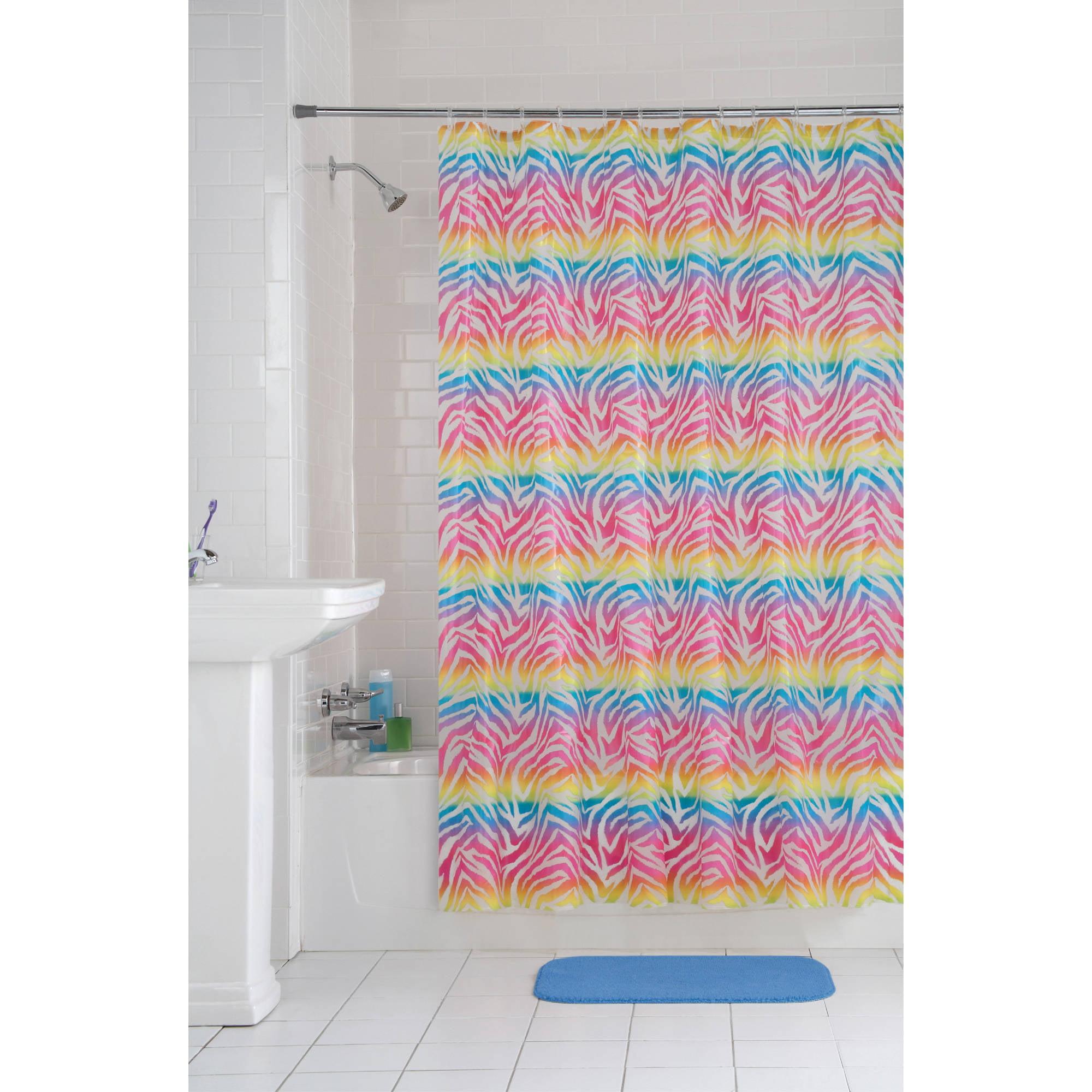 Mainstays Rainbow Zebra PEVA Shower Curtain