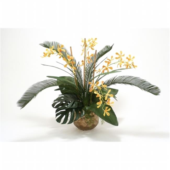Distinctive Designs International 9878 Yellow Orange Vanda Orchid with Tropical Foliage in Burnt Gold Gabbi Pot