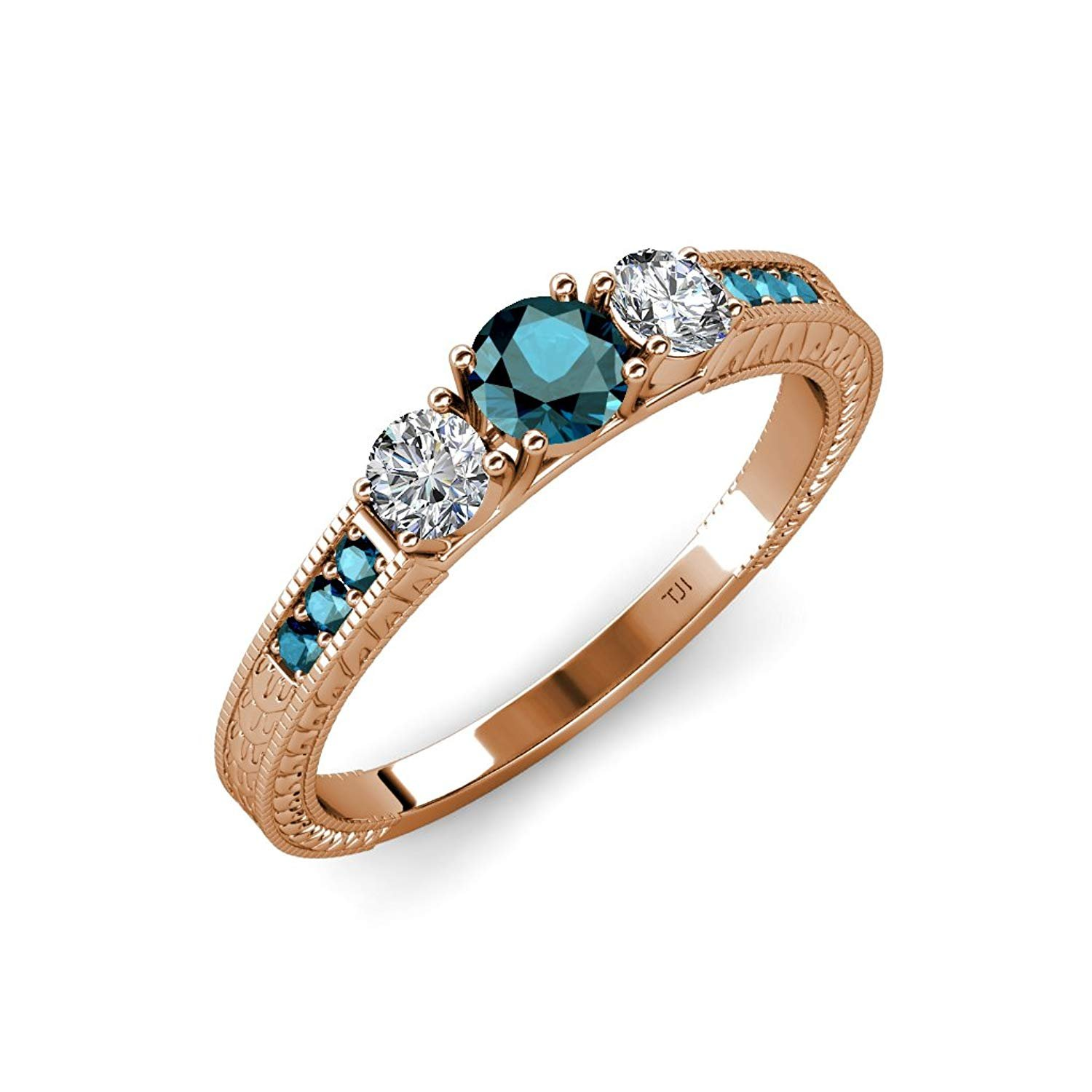 Blue and White Diamond 3 Stone Ring with Side Blue Diamond 0.85 ct tw in 14K Rose Gold.size 7.0 by TriJewels