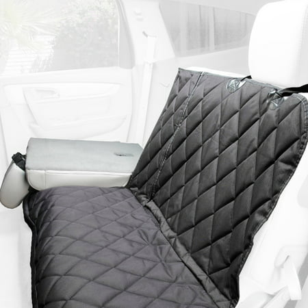 4Knines Dog Seat Cover with Hammock for Fold Down Rear Bench SEAT 60/40 Split and Middle seat Belt Capable - Heavy Duty - Black Regular - for Cars, SUVs and Small