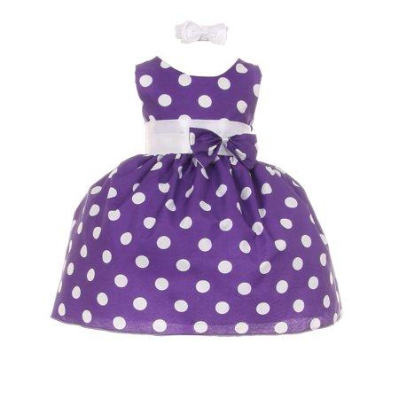 Polka Dot Bow Dress - Baby Girls Purple White Polka Dot Bow Sash Headband Special Occasion Dress 3M
