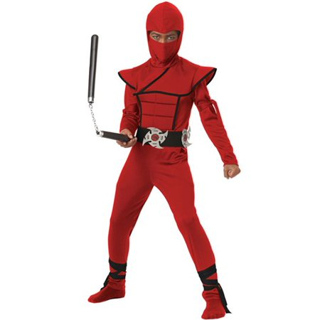 Stealth Ninja Child Costume - Black And Red Ninja