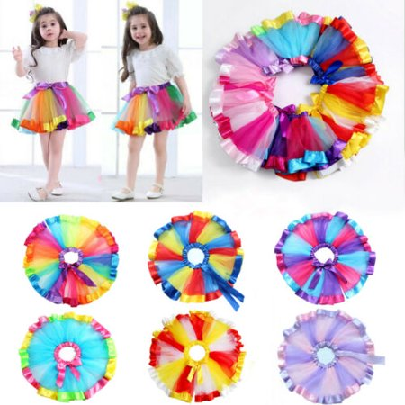 2019 Rainbow Skirt Costume Princess Toddler Kids Baby Girls Party Tutu (Mickey's Costume Party 2019)
