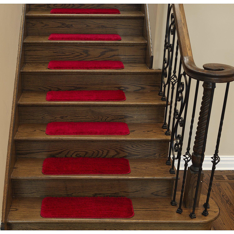 "Ottomanson Comfort Collection Soft Solid (Non-Slip) Plush Carpet Stair Treads, 9"" x 26"""
