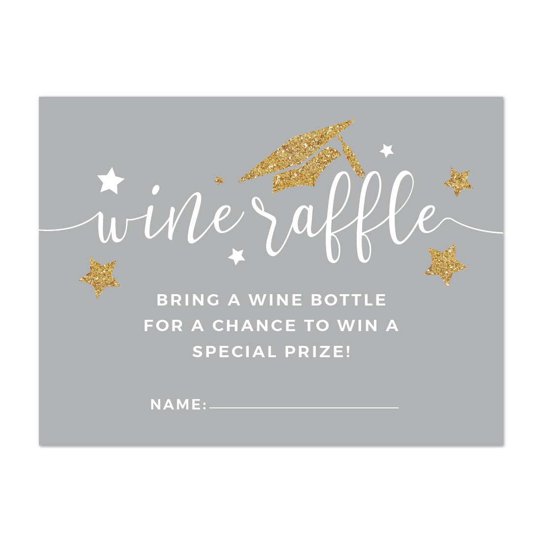 Gray and Gold Glittering Graduation, Wine Bottle Raffle Cards, 30-Pack, Games Activities and Decorations