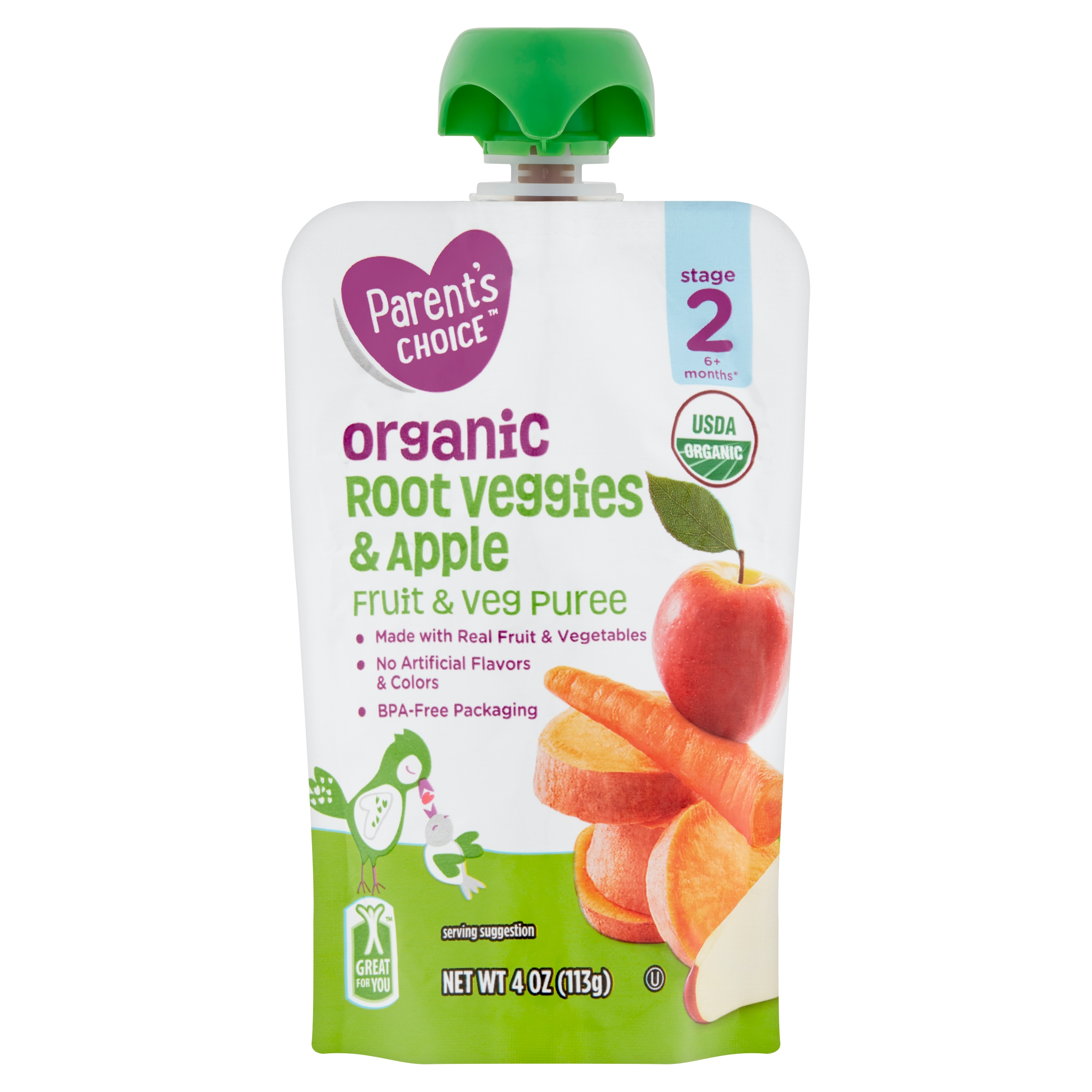 Parent's Choice Organic Root Veggies & Apple, Stage 2, 4 oz Pouch