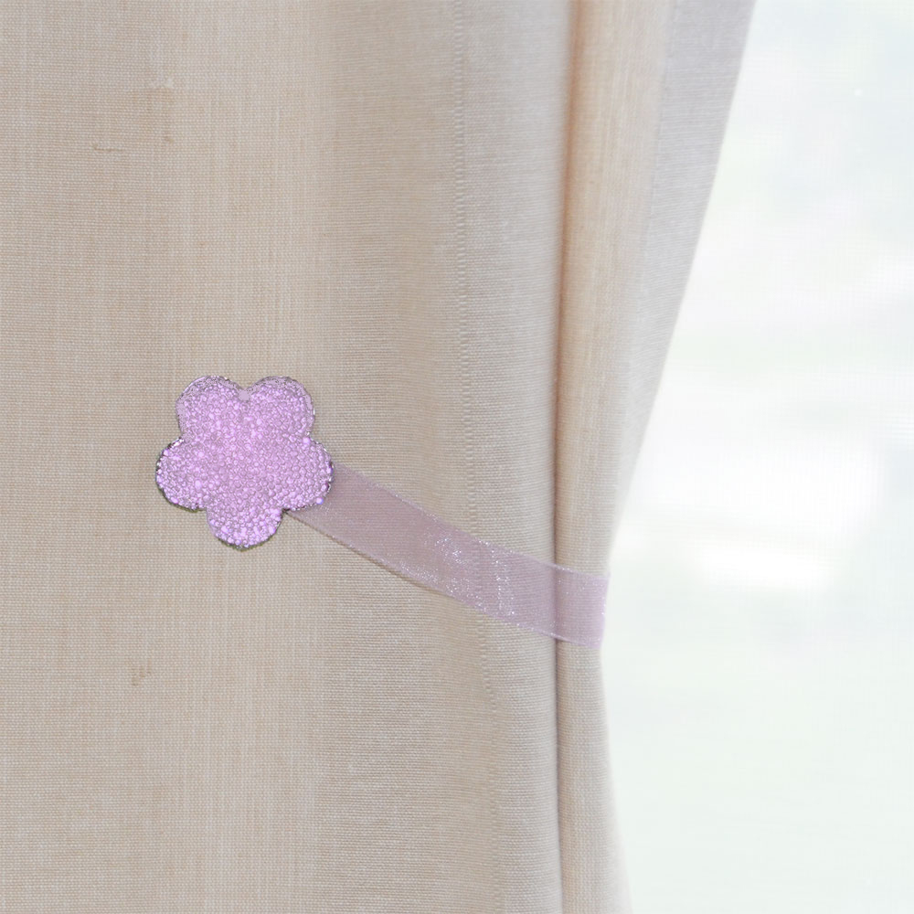 Round Purple White 2 Piece Crystal Magnetic Window Curtain Drapery Tie Back Clips Hardware... by