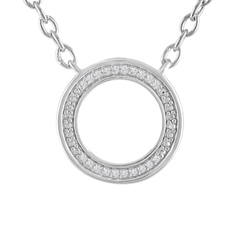 - Diamond Accent Sterling Silver Circle Necklace