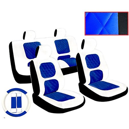 (Premium 13 Piece Luxury White and Blue Diamond Stitching Universal Faux Leather Car Seat Cover Set w/ Steering Wheel & Seat Belt Pads)