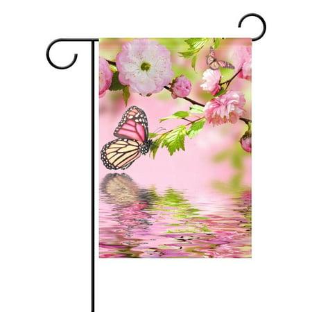 POPCreation Butterflies Pink Polyester Garden Flag12x18 inches Outdoor Flag Home Party Garden Decor