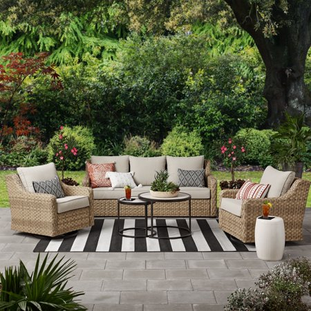 Better Homes & Gardens River Oaks 5-Piece Wicker Conversation Set with Patio Covers