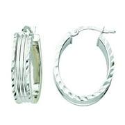 Rhodium-plated Sterling Silver Italian Diamond-cut Edge Oval Hoop Earrings