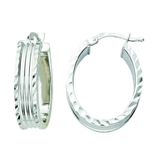 Rhodium-plated Sterling Silver Italian Diamond-cut Edge Oval Hoop Earrings