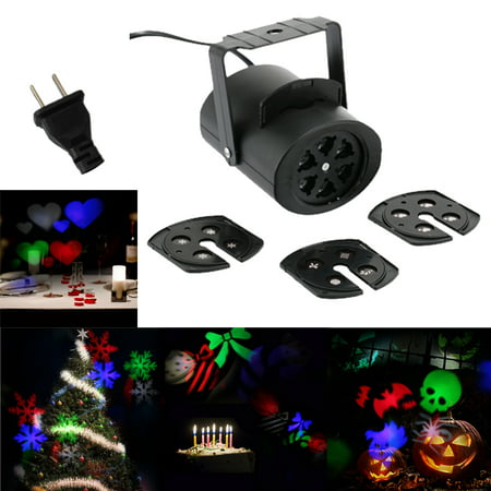 85-260V 4W Mini LED RGB Gobo Light Projectior Effect Stage Lamp with 4 Changeable Films Multi-pattern Cards for Birthday Party Valentine's Day Wedding Halloween Christmas Festival (Film Halloween Italiano)