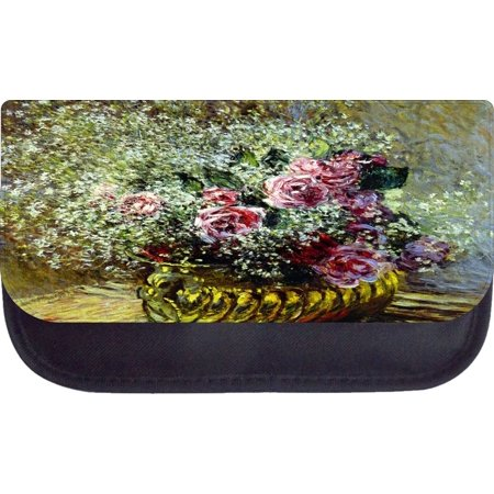 Monet's Flowers in a Pot Painting Print Design - Black Pencil Bag - Pencil (Best Pot Painting Designs)