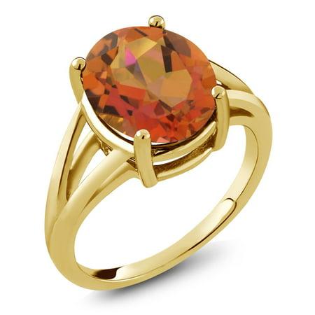 4.00 Ct Oval Twilight Orange Mystic Quartz 18K Yellow Gold Plated Silver Ring