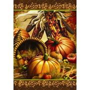 "Bountiful Harvest Autumn House Flag Cornucopia Indian Corn 28"" x 40"""