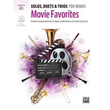 Alfred Music 00-47826 Solos, Duets & Trios for Winds - Movie Favorites Flute Book & CD