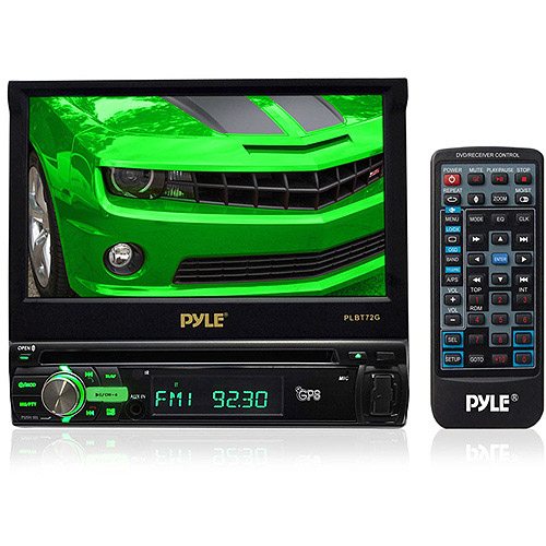 "Pyle PLBT72G 7"" Single DIN In-Dash Motorized Touchscreen TFT/LCD Digital Monitor with DVD/CD/MP4/USB/SD"