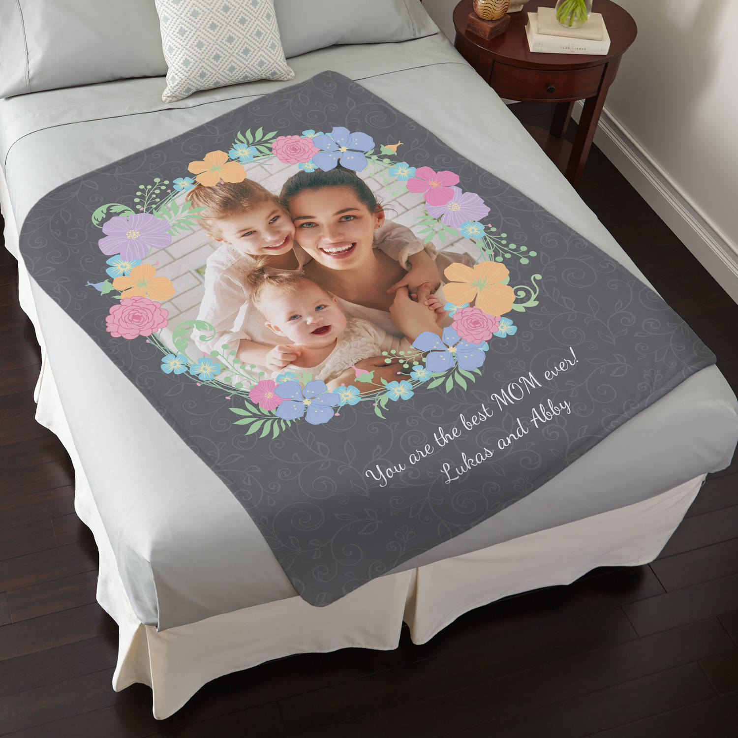 Personalized Floral Photo Plush Blanket