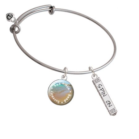 Spin On Bar Sun Sea Sand Serenity Bangle Bracelet