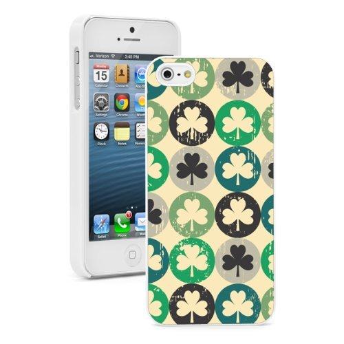 Apple iPhone 6 6s Hard Back Case Cover Vintage Shamrock Clovers Pattern (White)