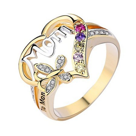 SHOPFIVE Beautiful Fashion Heart Shaped Love Mum Ring Two Tone Gold Silver Mom Character Diamond Jewelry Family Birthday Best Gift For Mothers Day Mummy Party Band Rings Size 6-10