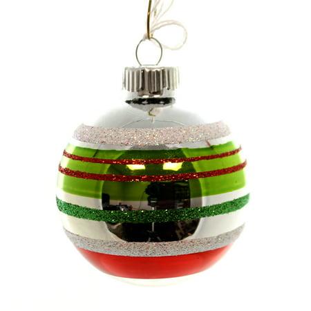 - Christopher Radko SHINY BRITE 2.50 STRIPED BALL Glass Ornament 4026760 Ball
