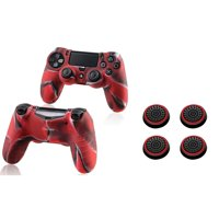 Insten Camouflage Navy Red Silicone Skin Case (+ 4x Black/Red Analog Thumbstick Cap) for Sony PlayStation 4 Controller