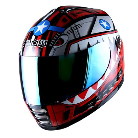 WOW Motorcycle Full Face Helmet Street Bike BMX MX Youth Kids Shark Red Closeout Mx Helmets