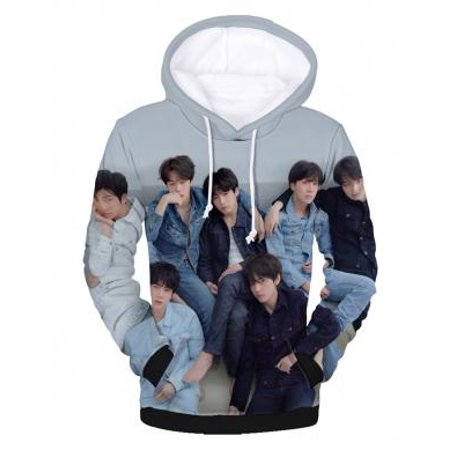 Fancyleo Unisex BTS Fans Hoodie 3D Print Love Yourself Tear Baseball Jacket Digital Print Pullover Cool KPOP Sweatshirt For Men Women (Fox Mens Sweatshirt)