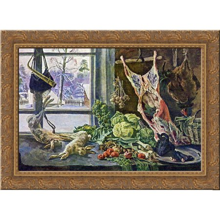 Still Life. Meat, poultry and brussels sprouts against the window. 24x18 Gold Ornate Wood Framed Canvas Art by Pyotr