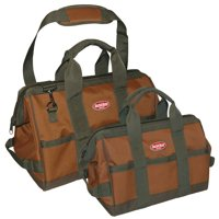 "Bucket Boss 60028 12"" & 16"" Green & Brown Gatemouth® Tool Bag Combo"