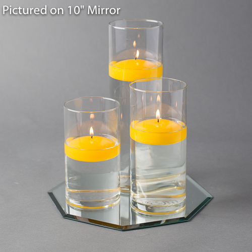 """Eastland Octagon Mirror 10"""" and Cylinder Vase with 3"""" White Floating Candle Set of 4"""