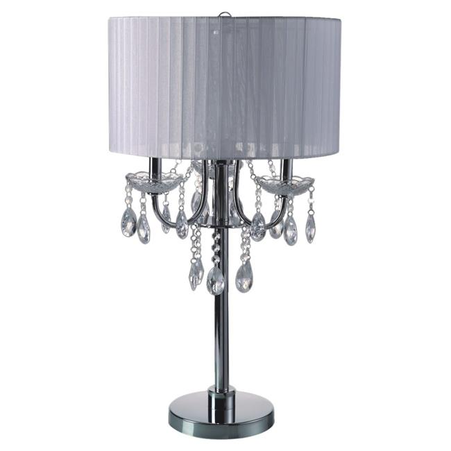 Q-Max 706733TWHU 29 in. Crystal Inspired 3-Bulb Table Touch Lamp - Chrome