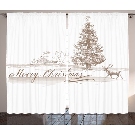 Christmas Curtains 2 Panels Set, Romantic Vintage Merry Christmas Scene with Reindeer Tree Star Holy Religious Design, Living Room Bedroom Decor, Brown, by Ambesonne