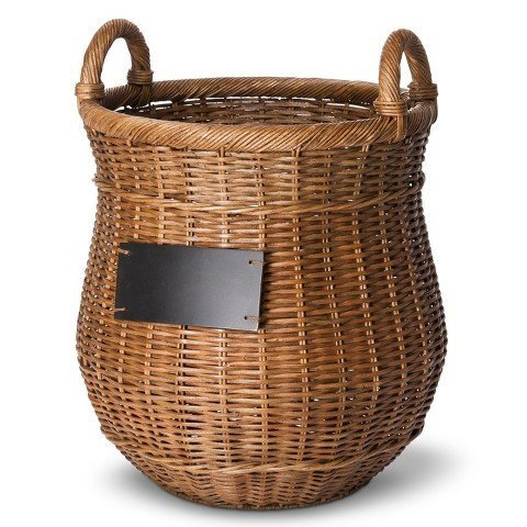 Smith & Hawken Round Decorative Basket with Chalkboard