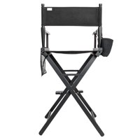 UBesGoo Hot Directors Chair 30 Inch Canvas Tall Seat Black Wood Makeup Folding Chair