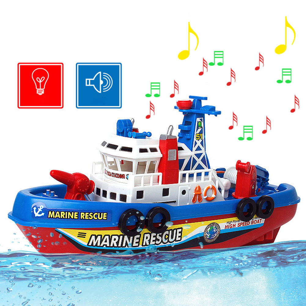 Fire Boat Electric Boat Children Electric Toy Navigation Non-remote Warship