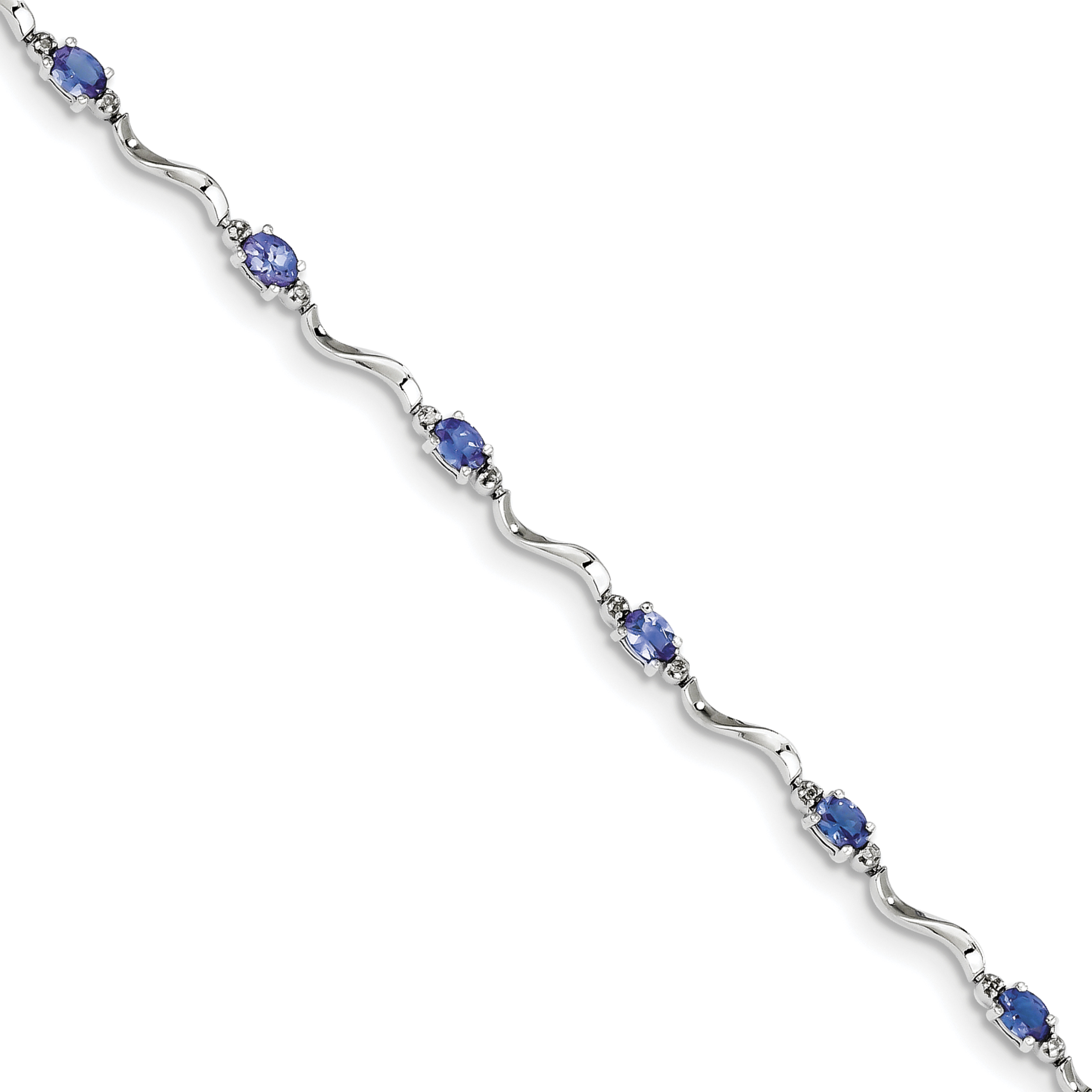Sterling Silver Rhodium Plated Diamond and Tanzanite Bracelet by CoutureJewelers