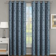 Pair (Set of 2) Blair Jacquard Room Darkening Curtain Floral Inspired Curtain Panels - 108x63 - Blue