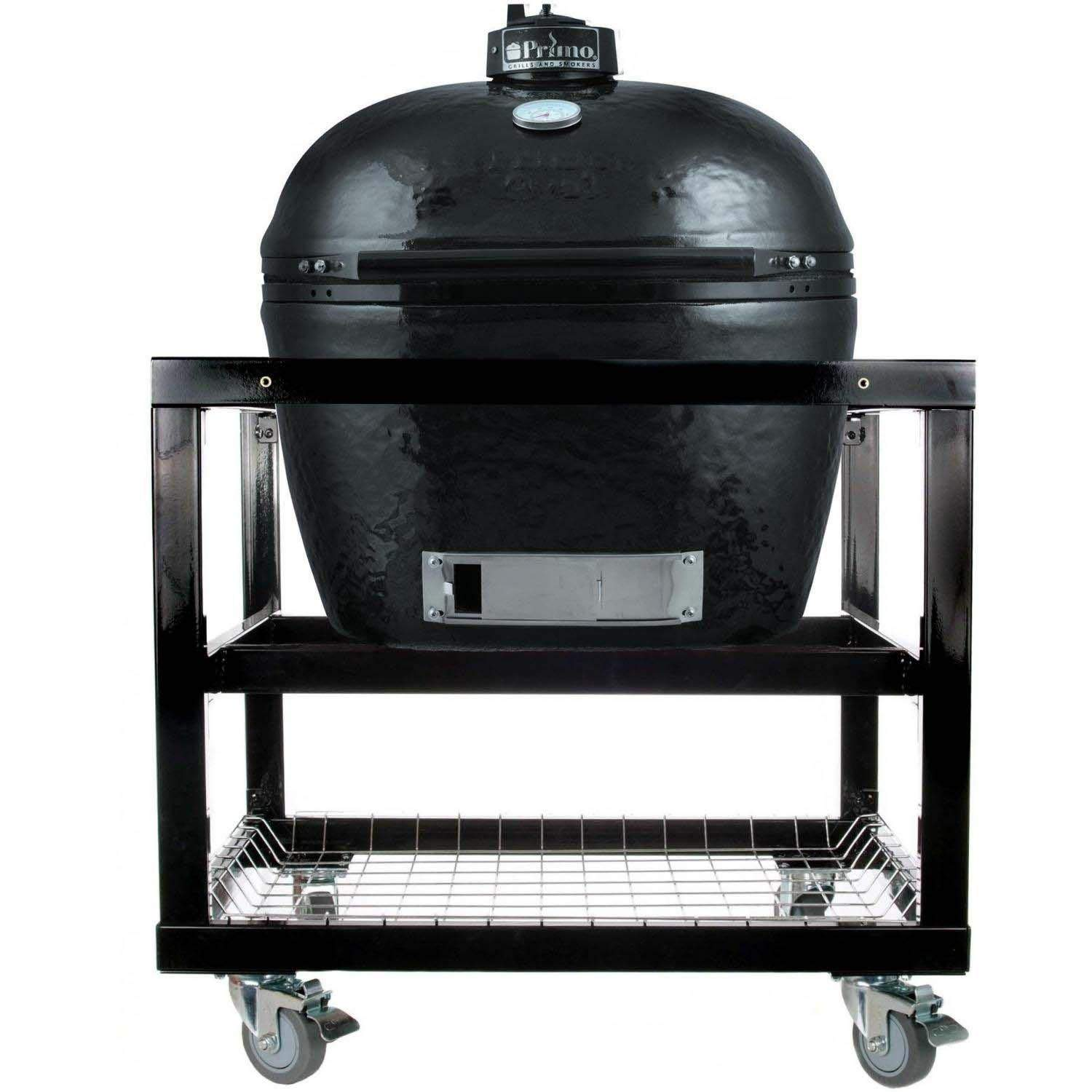 Primo Oval JR 200 Ceramic Smoker Grill On Cart without Side Tables by