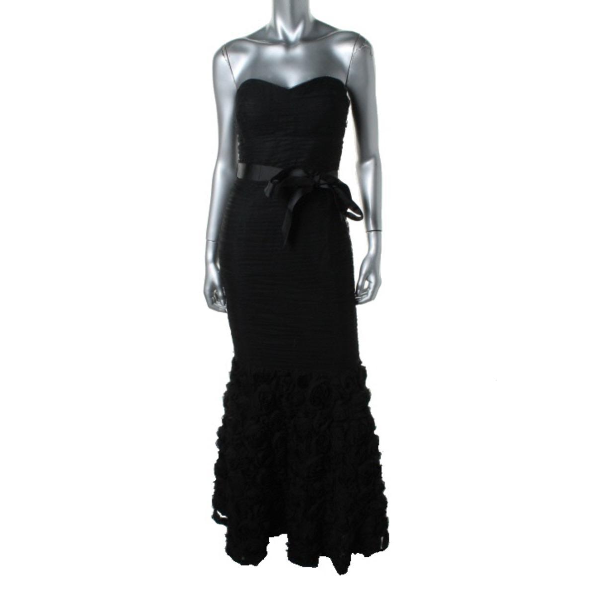 JS Collections Womens Rosette Strapless Formal Dress