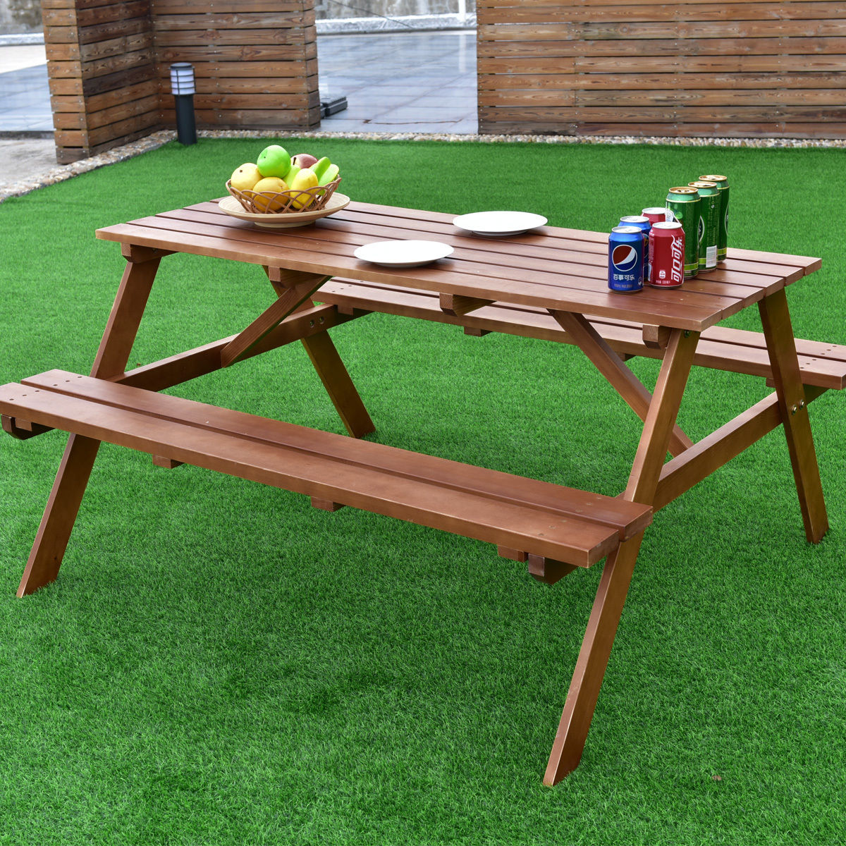 costway solid pine wood picnic table w attached bench seat garden backyard outdoor