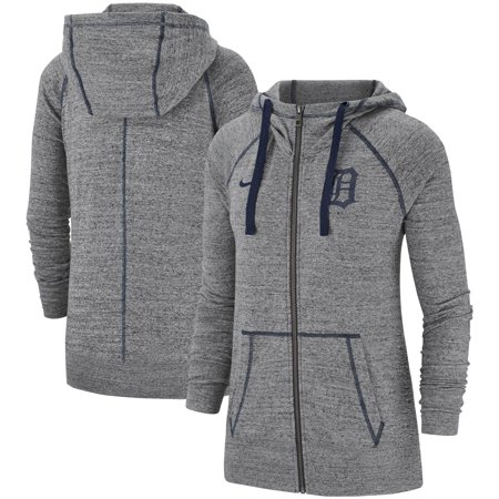 Detroit Tigers Nike Women's Gym Vintage Team Full-Zip Hoodie - Heathered Gray