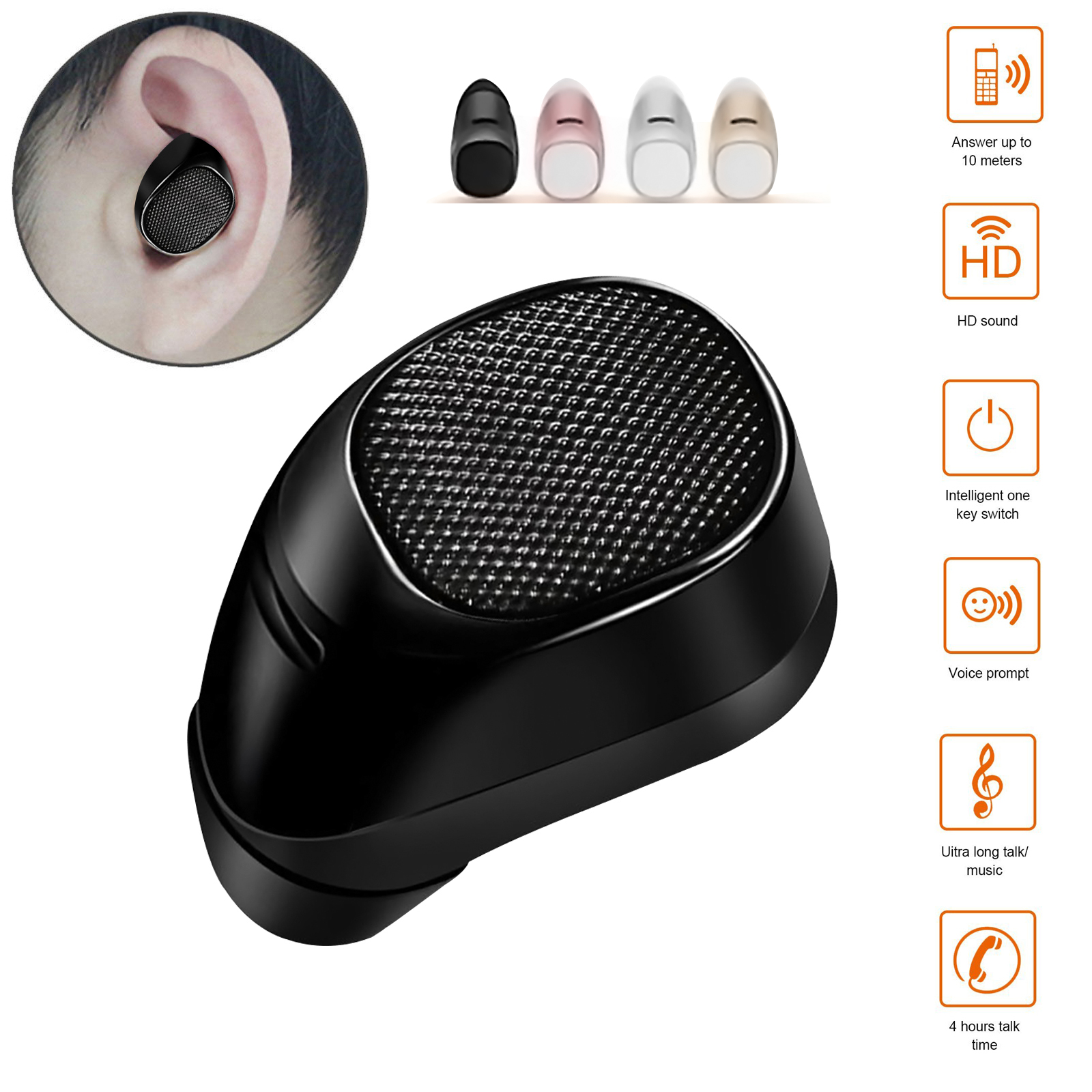 Mini Bluetooth 4.1 Wireless In-ear Earbud Stereo Headset Headphone Earphone