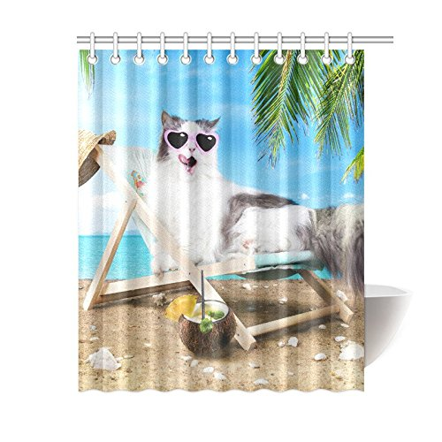 GCKG Funny Animal Kitten Shower Curtain Hipster Cute Cat Tropical