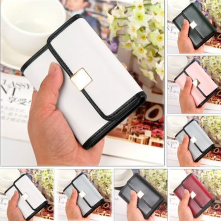 - Fashion Women Wallet PU Leather Cash Card Pocket Photo Mini Clutch Short Simple Purse